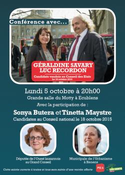 Conférence avec Géraldine Savary et Luc Recordon