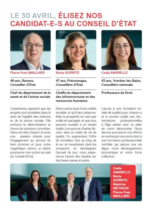 Candidat-e-s du PS au Conseil d'Etat pour la législature 2017-2022